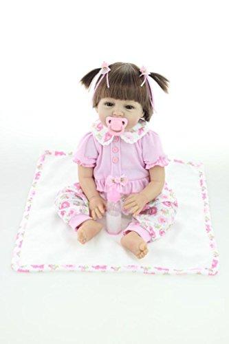 NPKDOLL Renacer De La Muñeca De Silicona Suave 22 Pulgadas 55 Centímetro Magnética Boca Precioso Realista Lindo De La Muchacha Del Juguete Del Elefante Rosado Reborn Doll A1ES