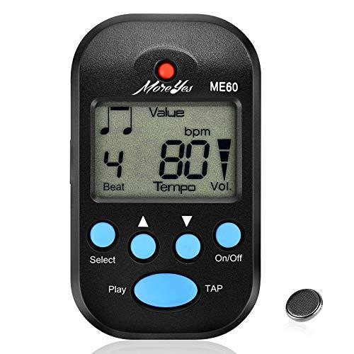 MOREYES Mini metrónomo digital con altavoz multifuncional para saxofón, piano, guitarra, violín, flauta y tambor (negro)