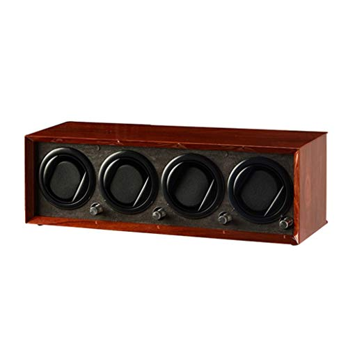 zyy Reloj automático de madera de lujo, recargable por USB, 5 modos, caja de bobinado de relojes de piel sintética de madera, motor silencioso, fuente de batería (color 4+0)