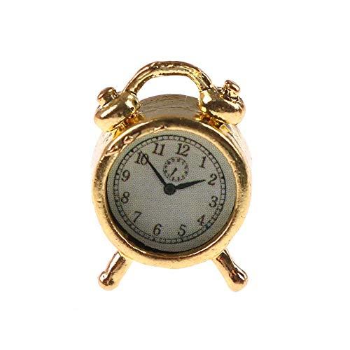 Miniature Alarm, Classic Alloy Alarm Miniature Accessory Collection Clock for 1/12 Dollhouse - Golden Random Pattern Durable