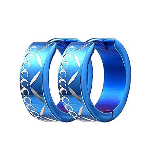 YUYAXPB Stijlvolle Titanium Steel Oorbellen Unisex RVS Oorpiercing Oorbellen Mannen Vrouwen Hoog Polijsten 1.6cm * 0.7cm Blauw/zwart/goud/zilver Gift