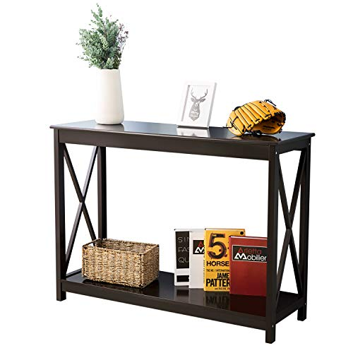 Leisure Zone Brown Wooden Console Table, 80cm Height, 70 KG Load Capacity End Table with Shelf Storage Hall Desk for Living Room Bedroom Hallway, Size: W 110 x D 38 x H 80 cm