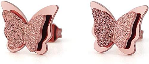 Stailnless Steel Matte Sand Butterfly Cocktail Party Statement Stud Earrings Rose Gold product image