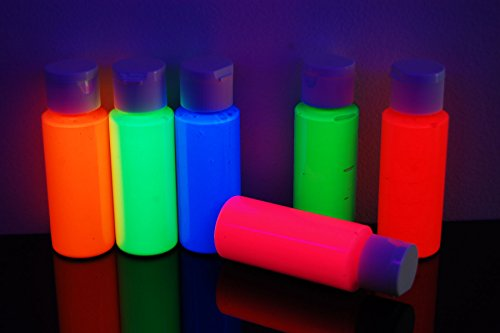 DirectGlow 2oz UV Blacklight Reactive Fluorescent Acrylic Paints (6 Color Neon Assortment)