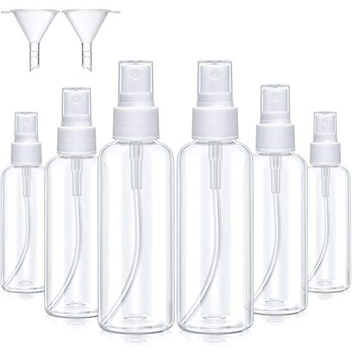 6 Pezzi Set Bottiglie Spray Ricaricabili Nebulizzatore a Nebbia Fine Bottiglia di Nebbia in Plastica Trasparente con Canalizzazioni per Viaggi (100 ml, Bianca)