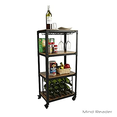 Mind Reader Mobile Kitchen Cart with Wine Rack and Stemware Storage, Black