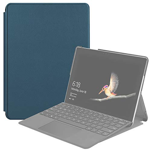 QGT Tablet Case for Microsoft Surface Go 2 / Surface Go Voltage Elastic Texture Horizontal Flip Leather Case with Holder (Color : Dark Green)