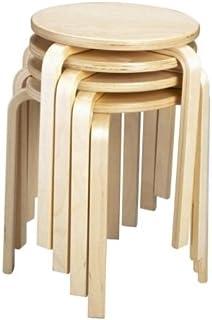 Centrosilla Taburete Madera bajo Redondo Madera Natural contrachapado, Barnizado y apilable - tamaño pequeño Ideal para mesas y mesitas (4 Unidades)