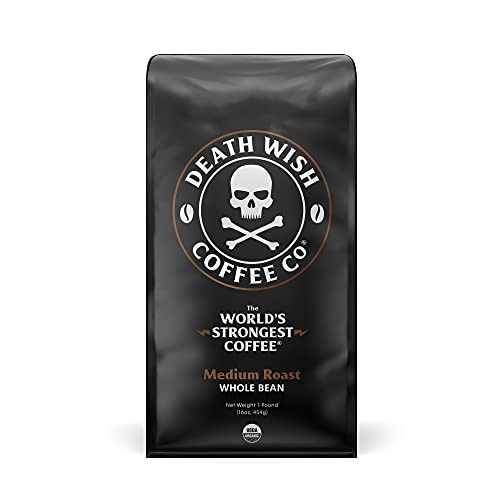 Death Wish Coffee Company's Whole Bean Coffee [1-pack/bag, 1 lb]   The World's Strongest Medium Roast   USDA Certified Organic, Fair Trade   Arabica and Robusta Beans   A Lighter Shade of Bold