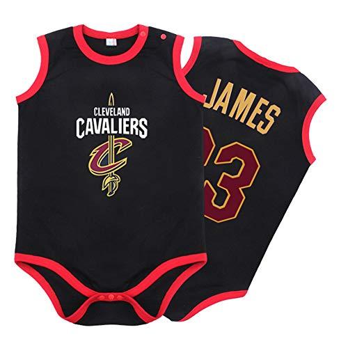 Kleinkinder und Kleinkinder Baby Jungen Jungen Basketball Trikot, Kavaliere # 23 James Ärmelloser Overall Basketball Trikots Krabbelanzug-black-90(cm)
