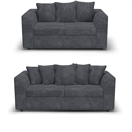Red Fern Grey Fabric Jumbo Cord Sofa Settee Couch 3+2 Seater
