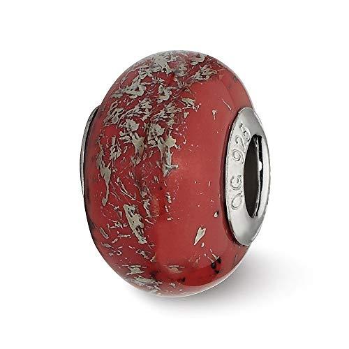 Sterling Silber Reflexionen Rot mit Platinum Folie Keramik Charm Bead