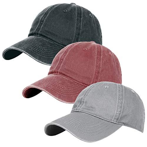 Glamorstar Classic Unisex Baseball Cap Adjustable Washed Dyed Cotton Ball Hat (One Size, Red Wine+Black+Grey)