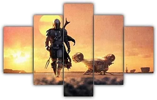 5 Piezas Lienzos Cuadros Pinturas Planeta Mandaloriano Mando Pedromodernos Impresión Imagen Artística El Arte Pared del Hogar Salón Oficina Decoración Sin Marco