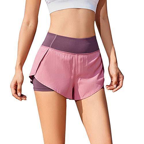 iMixCity Pantalones Cortos de Gimnasia para Mujer 2 en 1 Doble Capa Banda de Cintura elástica Running Yoga Short con Bolsillo (Rosado, Medium)