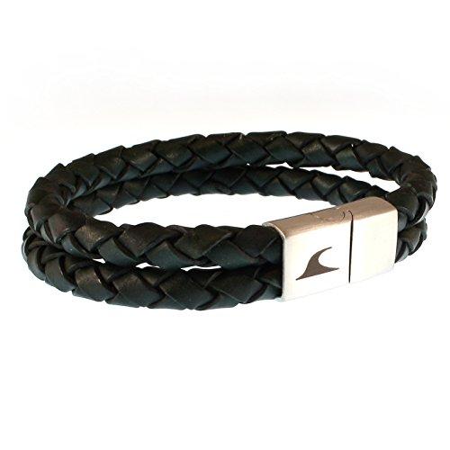 WAVEPIRATE® Echt Leder-Armband Tarifa F Grün 18 cm Edelstahl-Verschluss in Geschenk-Box Surfer Männer Herren