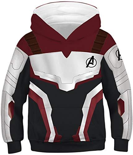EUDOLAH Jungen Sweatshirts für 4-13 Alter Kinder Langarm 3D Druck Mehrfarbig Bunt Kids Herbst Winter Hemd mit Kaputzen 0-Rot Schwarz L
