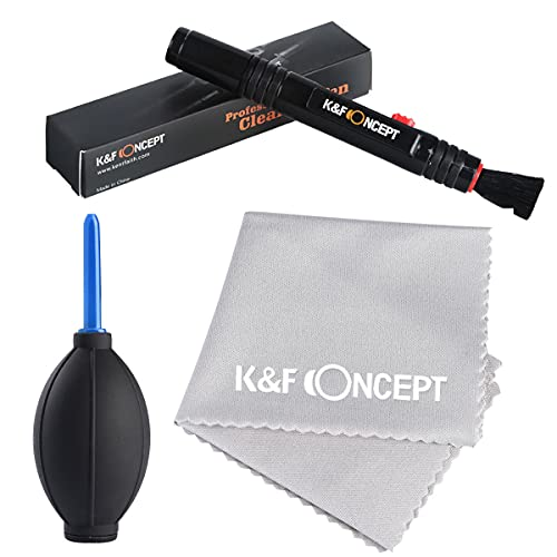 K&F Concept - Kit de Limpieza 3 en 1 Cleaning Kit Incluye (Pluma de Limpieza + Soplador de Aire + Paño de Limpieza) para Canon Nikon Sony DSLR Cámaras