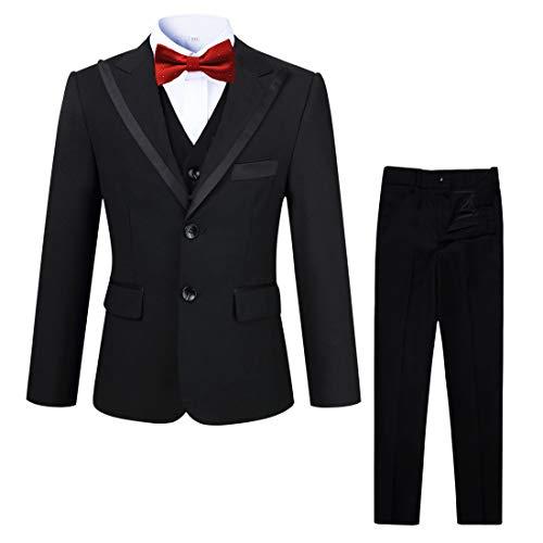 kretenier Formal Slim Fit Boys Suits Black Kids Dress Suits for Boys(Size 5)