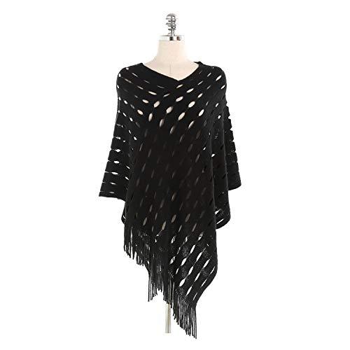 FGJFA Womens Cape met franje Hem, gehaakte Poncho breipatronen voor dames Pullover sjaal warme sjaal