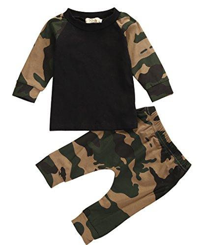 CANIS Garçon de Nouveau-né Bébé Garçon Ensemble T-shirt Mignon Couleur Camouflage Adorable de Deux Pièce (6-12 Mois)
