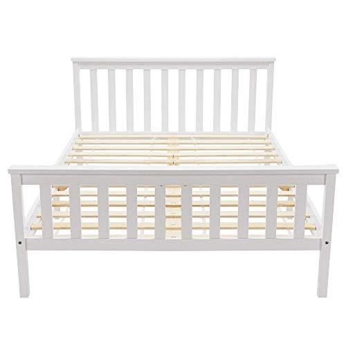 Holzbett Doppelbett Kinderbett aus Kiefer mit Lattenrost & Kopfteil - 135 * 190 cm, Weiß