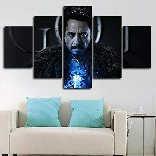 CXVXC5 Piezas - Cuadro sobre Lienzo Iron Man Game of Thrones PosterSo Crazy Art de Estilo Moderno Ideal - para Decoración hogareña - Listo para Colgar