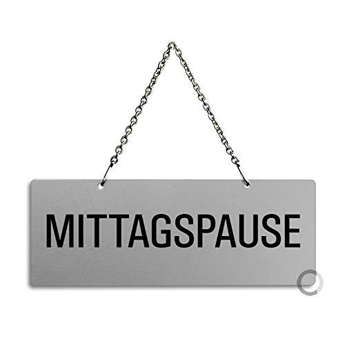 Schild Hängeschild – Mittagspause | Aluminiumschild mit Metallkette 175 x 65 mm | Ofform Design Nr.31052-E