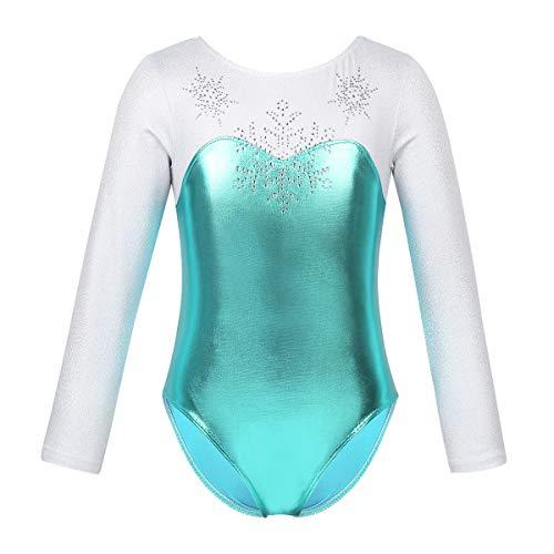 ranrann Maillot de Ballet Gimnasia Rítmica para Niña Body Metálico de Danza Manga Larga Copo de Nieve Leotardo de Baile Patinaje Traje de Bailarina Lago Azul 8 Años