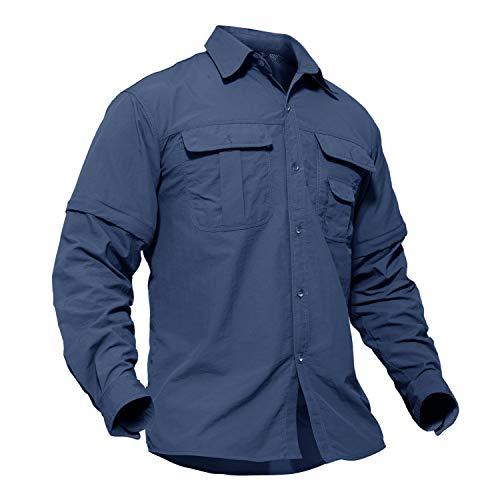 TACVASEN Men's Quick Dry UV Protection Zipper Convertible Long Sleeve Shirt Blue,Large