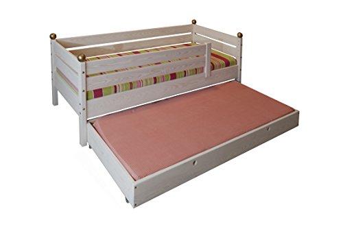 silenta Kinderbett mit Rausfallschutz, Rost und Gästebett 70x160cm, Massivholz aus nachhaltiger Waldwirtschaft, geölt weiß