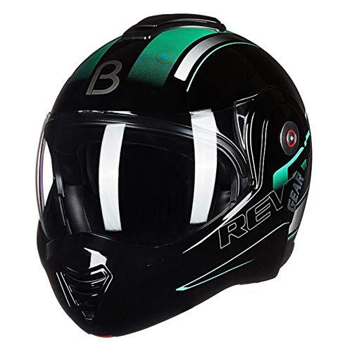 ZLYJ Casco Delantero Abatible para Motocicleta Valiant Lumen, Doble Visera, DVS, Casco Deportivo, para Turismo, Sólido Aprobado por ECE A,XL(59-60cm)