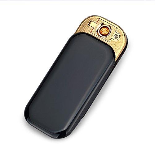 CHAOBEITE USB Elektronisches Berühren Feuerzeuge Windfest Elektronisch Zigarre Zigarette Feuerzeug Aufladbare (Schwarz) Schwarz