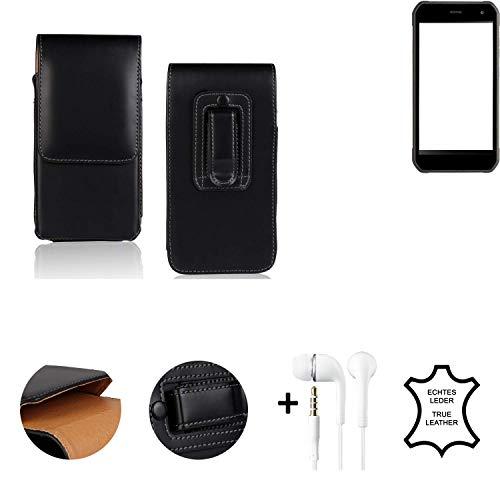K-S-Trade® Leder Gürtel Tasche + Kopfhörer Für Cyrus CS 40 Seitentasche Belt Pouch Holster Handy-Hülle Gürteltasche Schutz-Hülle Etui Schwarz 1x