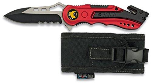 Albainox 19495GR1014 - Coltello di sicurezza GEO, manico in alluminio, lama con sega da 8,1 cm, custodia in nylon, rosso