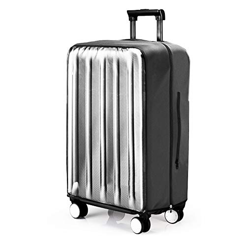 Clear PVC Suitcase Cover Protectors 20 24 28 30 Inch Luggage Cover for Wheeled Suitcase (Only The Protective case Does not Include a Suitcase) (Black, XL=30(27.80'-29.53'))