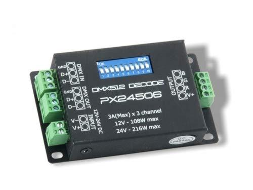 YULED PX-24506 RGB DMX 512 3-Kanal 3x3A 12-24V LED Controller