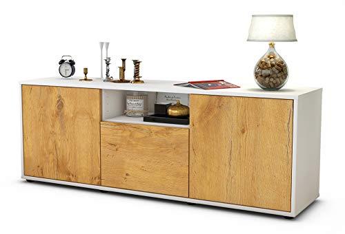 Stil.Zeit Möbel TV Schrank Lowboard Andreana, Korpus in Weiss matt/Front im Holz Design Eiche (135x49x35cm), mit Push to Open Technik, Made in Germany