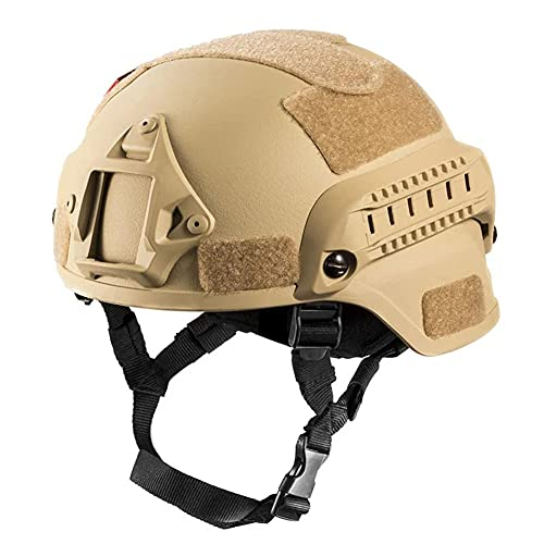 LICHENGTAI Casco táctico, casco militar de airsoft con soporte de cámara deportiva de visión nocturna, protección de la cabeza, casco ligero unisex para entrenamiento, escalada, ciclismo (color S)