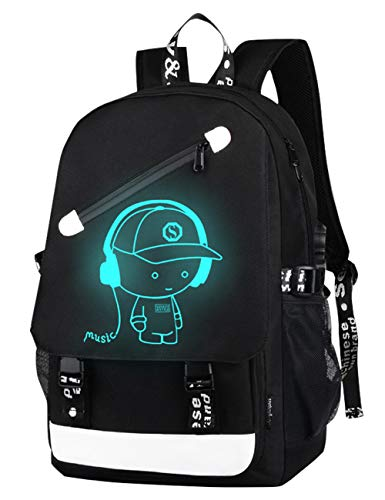 Teens Backpack Boys, Middle Secondary School Bag Laptop Backpack with USB Charging Port Anti-Theft Lock Luminous Music Boy Printing Casual Daypack 15.6 Inch School Outdoor Travel