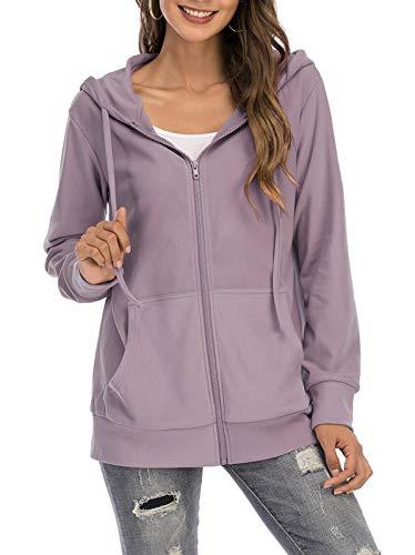 GOCHIC Women Full Zipper Lightweight Jacket Solid Color Long Sleeve Hoodie Lavender X-Large