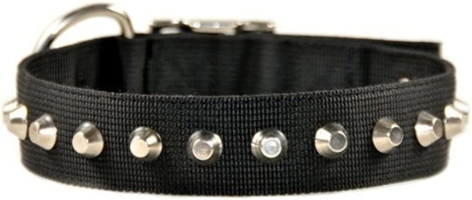 Dean and Tyler  MAKE A STATEMENT , Nylon Dog Collar with Nickel Plated Studs  Black  Size 66cm by 4cm  Fits Neck 61cm to 71cm
