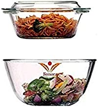 Femora Borosilicate Glass Microwave Safe Mixing Bowl 2100 ML, Serving Casserole 1550 ML Set of 2 Perfect for Mixing, Cooking, Baking, Serving