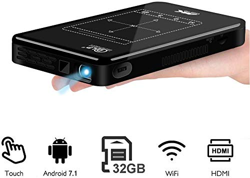 "LAIDUOAO Mini Projector, WiFi Video Projector DLP Projector with 50,000 Hrs Lamp Life, 1080P and 150""Display Supported Portable Projector, Built-in Battery and Speakers with 360°Rotation Tripod"