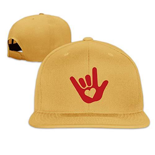 Lsjuee Sombrero de Camionero para Adultos, Moda ASL I Love You Lenguaje de señas Ajustable Hip Hop FlatbrimCaps