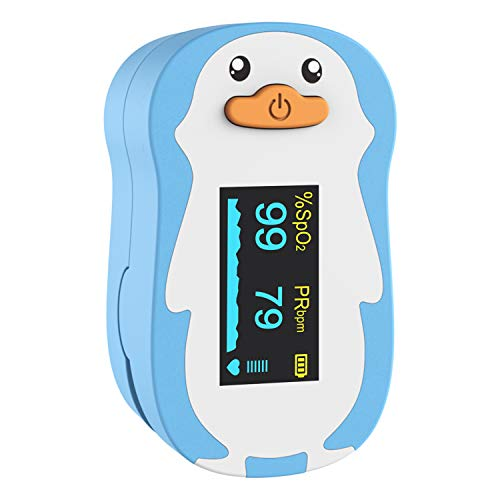 Wellue Pediatric Pulse Oximeter Fingertrip for Kids with Warning Function Blood Oxygen Saturation and Pulse Rate Monitor with Batteries Lanyard Blue