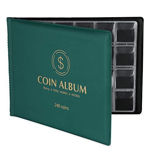 Muroad - 240 tasche per album da collezione pezzi di maiale, album per raccoglitori, adatto per monete di diametro 3 cm, libro di collezione di monete (verde)