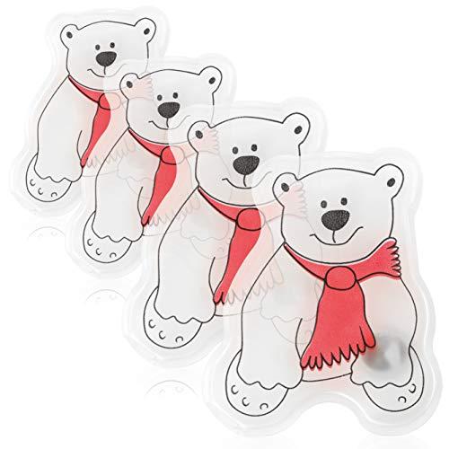 com-four® 4X Taschenwärmer Eisbär - Handwärmer für Erwachsene und Kinder- Taschenheizkissen mit lustigem Eisbären-Motiv
