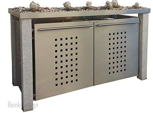 Reinkedesign afvalcontainerhuisje met granieten palen & plantenbak 3x120L