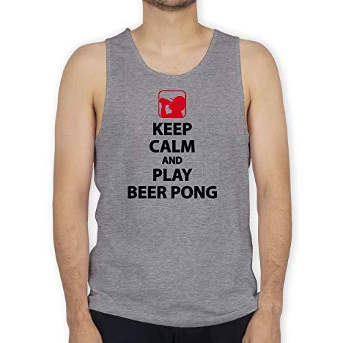 Festival - Keep Calm and Play Beer Pong - L - Grau meliert - Keep Calm - BCTM072 - Tanktop Herren und Tank-Top Männer